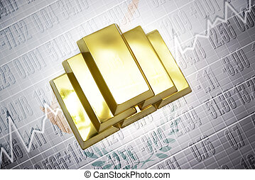 cypriot gold reserves - Shining golden bullions lie on a...