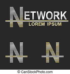 Metallic business symbol font design - letter N (network)