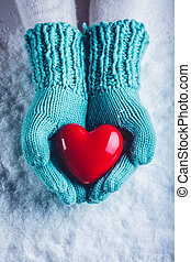Woman hands in light teal knitted mittens are holding a...
