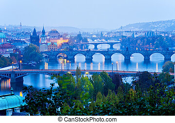Prague bridges at night in the autumn