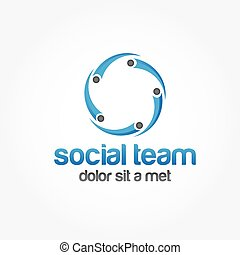 five people in the circle vector design template