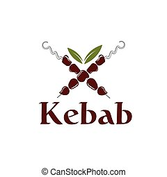 Vector illustration of kebab with leaves