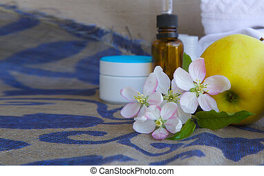 Apple blossoms with green leaves - Apple blossoms.Apples and...