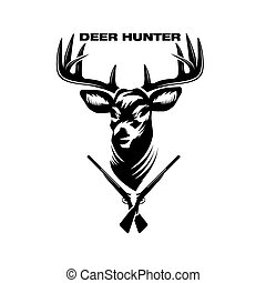 illustration of deer head and shotguns