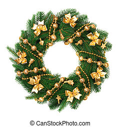 Christmas wreath on white background.