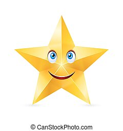 Cartoon Star - Cartoon smiling star with blue eyes on white...