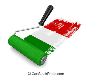 Paint roller with Italian flag - Paint roller with Italiian...