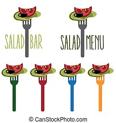 vegetarian salad on the fork