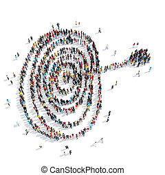 group people form target - A group of people in the form of...