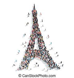 group  people  Eiffel Tower