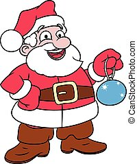 Santa Claus holding Christmas tree ball