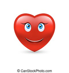 Smiling heart - Cartoon Smiling Female Heart on white...