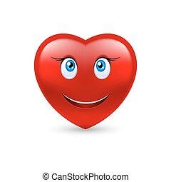 Smiling heart - Cartoon Smiling Female Heart on white...