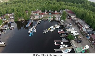 Flying high above the yacht harbor - St Petersburg Russia...