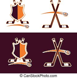 set of Hockey Sport Crests