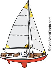 Small sailing yacht - Hand drawing of a small sailing yacht...