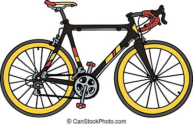 Black racing bike - Hand drawing of a black road racing bike