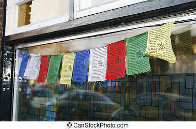 Tibetan prayer flags - Colorful Tibetan prayer flags on...
