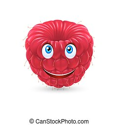 Cartoon raspberry - Raspberry smiling face expression...
