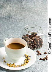 Coffee on special retro background - Coffee with glass jar...