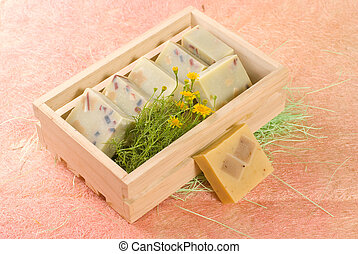 homemade soap put in wooden box