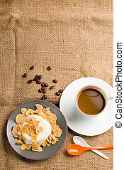 Milk pudding with sweet crips and coffee - Milk pudding with...