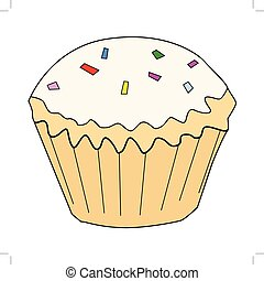 cupcake, tasty, sweet food - vector illustration of cupcake,...