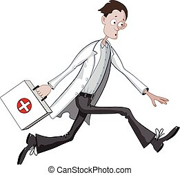 Cartoon doctor running hurriedly with case or bag