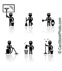 set isolated cleaner man - set black silhouette with...