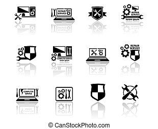 set of computer service icons - set of black isolated...
