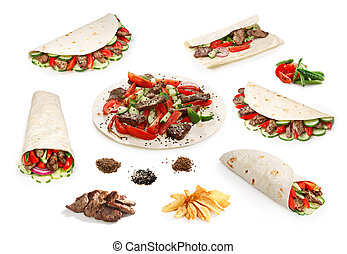 Beef Shawarma set isolated - Set of isolated beef shawarma...