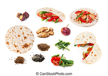 Shawarma set isolated - Set of isolated shawarma also known...