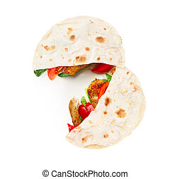 Gyros pita, a kind of shawarma with chicken and vegetables