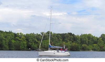 Yacht - The yacht sailing on the river
