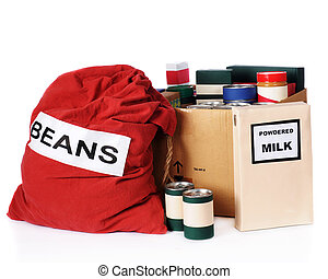 Relief Food - A large bag of beans, a box of powdered milk...