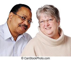 Mixed Race Senior Couple - Portrait of a happy biracial...