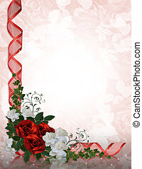 Ślub, zaproszenie, brzeg, czerwony, Róże