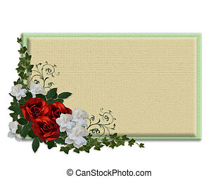 Red roses and Gardenias border - Image and illustration...
