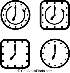 set of icons square and round clock