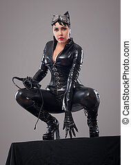 catwoman - Beautiful woman in catwoman leather latex whith...