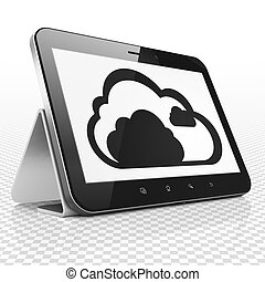 Cloud networking concept: Tablet Computer with Cloud on display