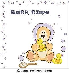 Teddy bear bath time in bath hat and rubber duck card