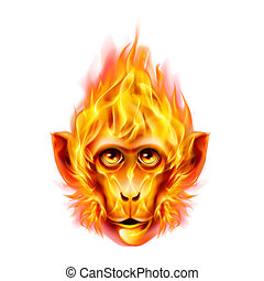 Monkey fire head in orange color isolated on white