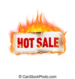 Label hot sale in fire, isolated on white