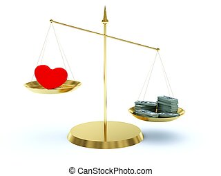 Heart and money on the scales