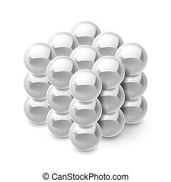 Cube from magnetic balls - Cube from magnetic silver balls...