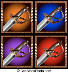 pirate sword - square icon for the game with a pirate sword...
