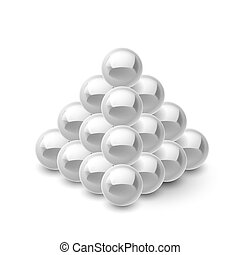 Pyramid of magnetic balls - Pyramid of magnetic gray balls...