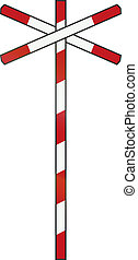 Dutch road sign - Level crossing with single track.