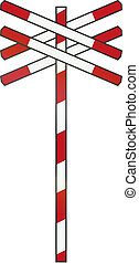 Dutch road sign - Level crossing with multiple tracks.